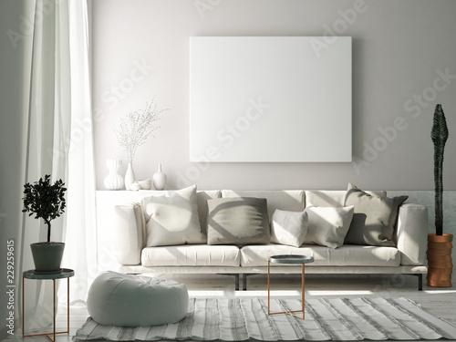 Obraz Mock up poster in Scandinavian living room concept, 3d render, 3d illustration - fototapety do salonu