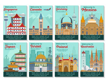 Set Of Different Cities For Travel. Landscape Template Flyer. Landmarks Banner In Vector. Travel Destinations Cards. Canada, Germany, Japan, Israel, Poland, Mexico, Ausrtalia