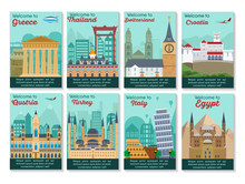 Set Of Different Cities For Travel. Landscape Template Flyer. Landmarks Banner In Vector. Travel Destinations Cards. Greece, Thailand, Switzerland, Austria, Turkey, Italy, Croatia, Egypt