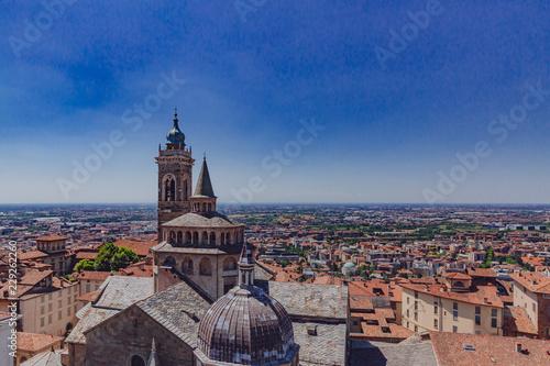 Photo  Basilica of Santa Maria Maggiore and the lower city of Bergamo, Italy