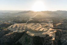 Aerial View Of New Neighborhood Construction Grading Near The Porter Ranch Community Of Los Angeles, California.