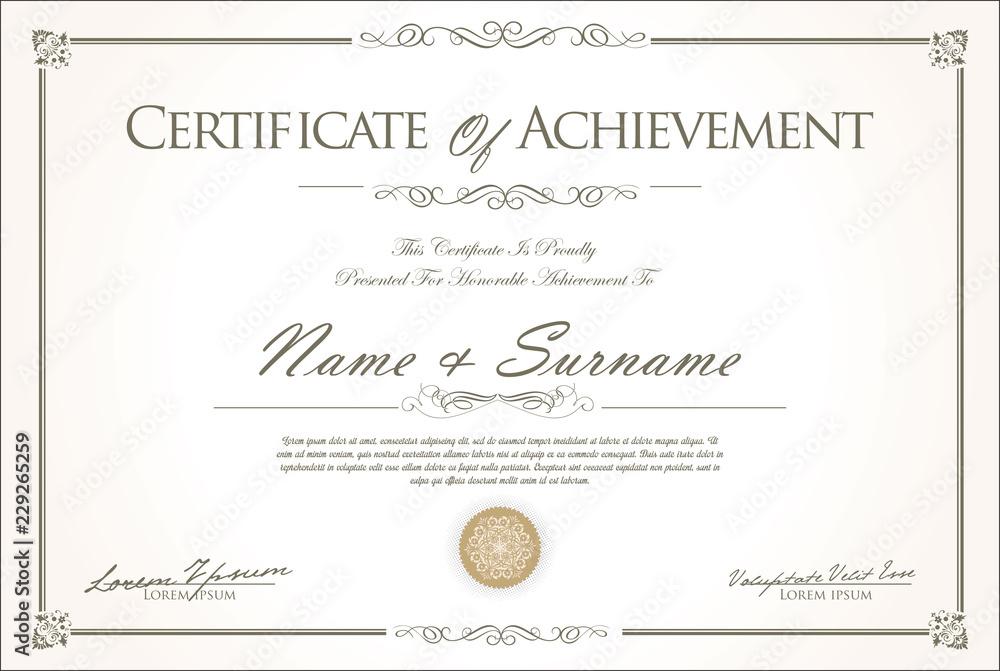 Fototapety, obrazy: certificate or diploma retro vintage design