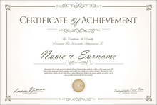 Certificate Or Diploma Retro Vintage Design