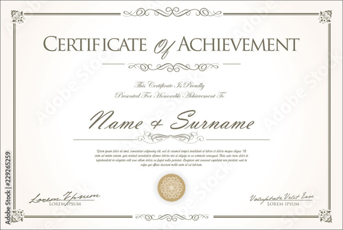 Fotomural  certificate or diploma retro vintage design