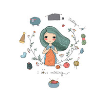 Cartoon Knitting Girl. Intresting Hobby. Coloring Book