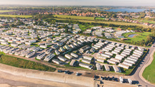 Aerial Shot Of Hornsea Caravan Park And Mere Showing All The Different Trailers And Holiday Homes For Rent During The Holiday Season