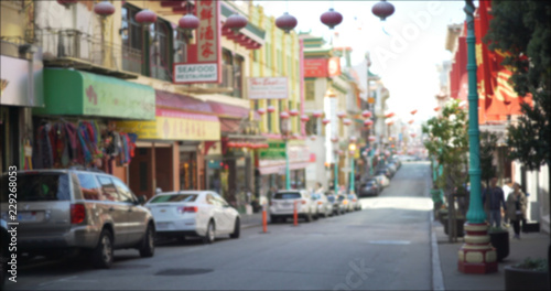Exterior shot of Chinatown district in San Francisco with decorative lanterns