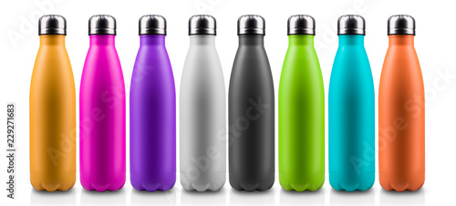 Colorful thermo bottles for water, isolated on white background. Canvas Print