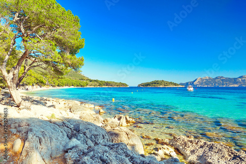 Mallorca Spain Europe Playa de Formentor turquoise beach landscape Canvas Print