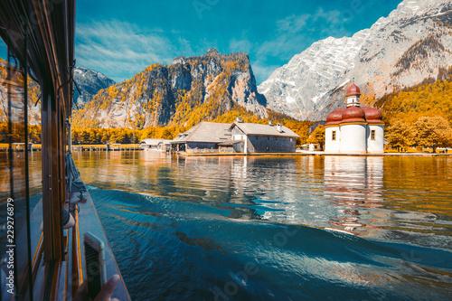 Lake Königssee with St. Bartholomä pilgrimage chapel in fall, Bavaria, Germany