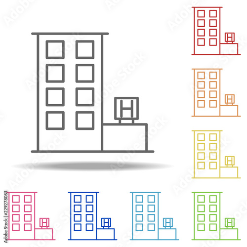 kiosk icon  Elements of Building Landmarks in multi color style