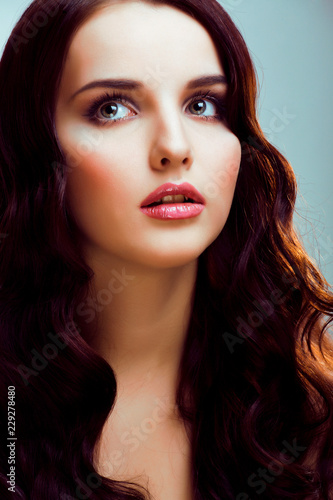 Fototapety, obrazy: young pretty brunette woman with hairstyle waves, luxury look fa