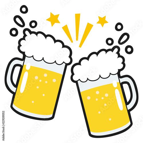 ビールのイラスト飲み会で乾杯をしているイラスト Adobe Stock で