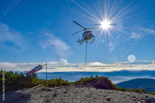 ヘリコプター 空輸風景 Canvas Print