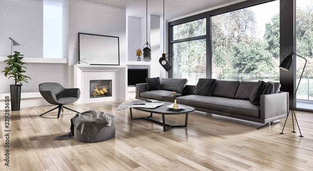 Fototapeta large luxury modern bright interiors Living room illustration 3D rendering computer digitally generated image
