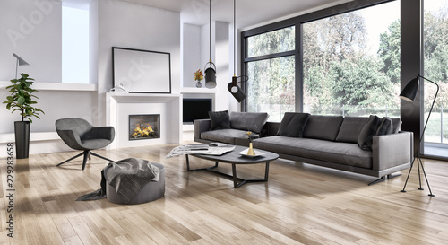 Fotografie, Obraz large luxury modern bright interiors Living room illustration 3D rendering compu