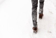 Walking In The Street On A Sno...