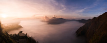 Panorama Of Sunrise Over The Bromo Crater On Java Island, Indonesia
