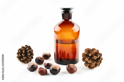Αφίσα  Vial with medicine, fir cone and chestnuts on white background