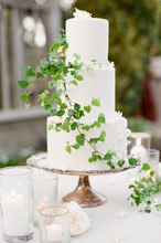 Delicate White And Green Wedding Cake