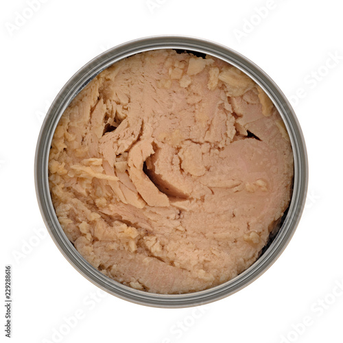 Top view of an opened can of solid white albacore tuna in olive oil isolated on a white background Canvas Print