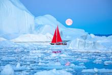 Little Red Sailboat Cruising A...