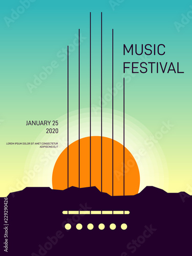 Fototapety muzyka  music-poster-template-design-modern-retro-vintage-style