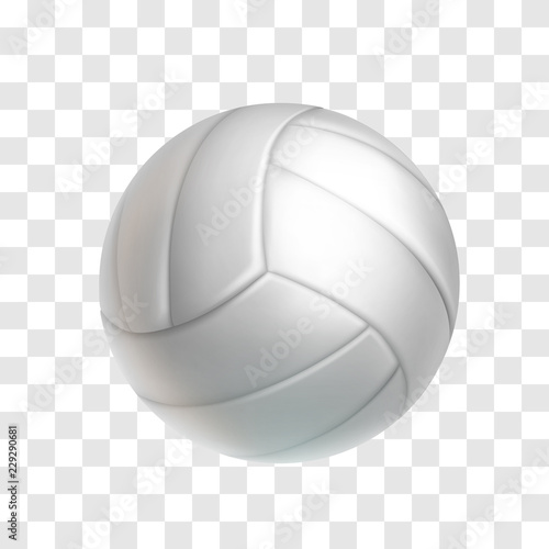 Realistic White Volleyball Ball Isolated On Transparent Background Sports Equipment For Team Game Vector Illustration Leather Ball For Beach Volleyball Or Water Polo Outdoors Leisure And Activity Buy This Stock Vector