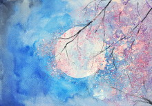 Watercolor Full Moon And Pink ...