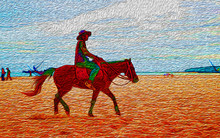 Silhouette Cowboy Riding A Hor...