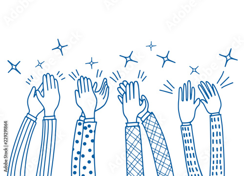 Photo Human hands clapping ovation. doodle style ,vector illustration