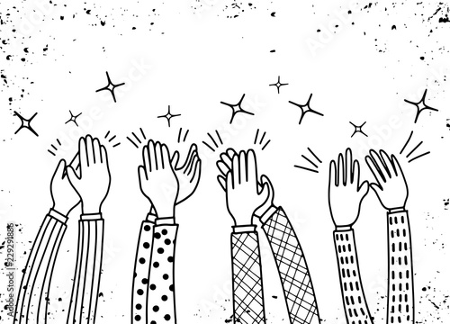 Human hands clapping ovation. doodle style ,vector illustration Wallpaper Mural