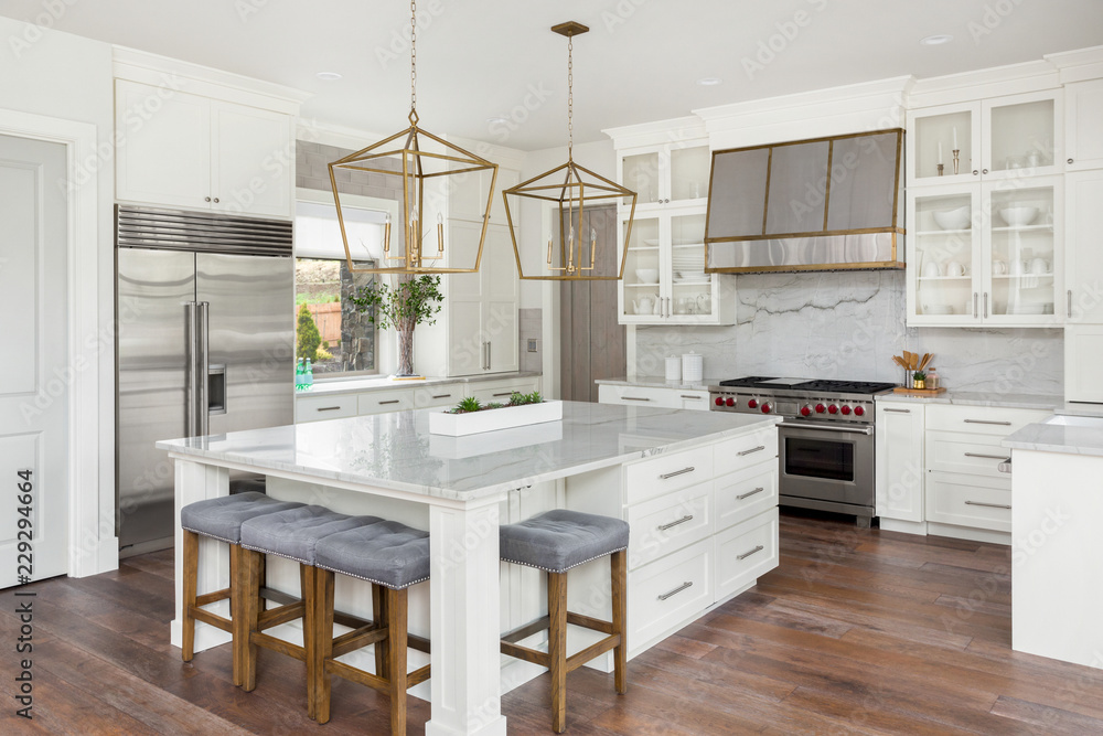 Fototapety, obrazy: White Kitchen in New Luxury Home