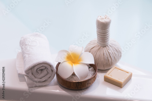Foto op Canvas Spa thai spa massage setting in light background