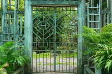 Beautiful Iron Cast Gate In A Park, Garden