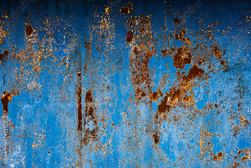 Fotografie, Obraz  Blue textured surface with corrosion