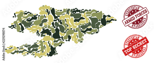 Photo  Military camouflage combination of map of Kyrgyzstan and red rubber stamps
