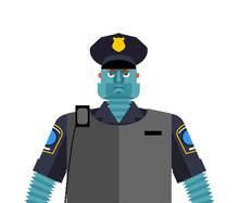 Robot Cop. Policeman Cyborg. Officer Police Robotic Man Future. Vector Illustration