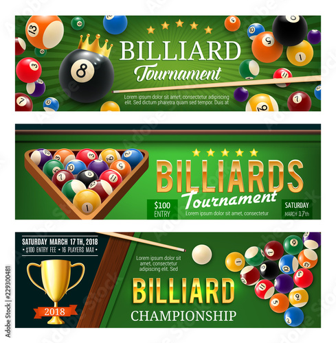 Fotografering Billiards sport game, balls and cues
