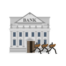 Bank Robbery. Robber And Bag Of Money. Burglar In Mask. Plunderer Vector Illustration