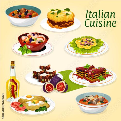 Fototapeta Italian cuisine dinner meals and desserts
