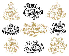 Christmas, New Year Holidays Lettering Quotes