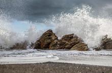View Of Ocean Waves Crashing O...