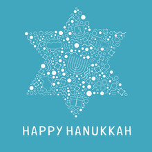 Hanukkah Holiday Flat Design White Thin Line Icons Set In Star Of David Shape With Text In English