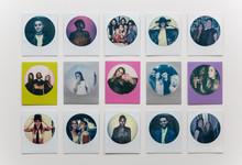 Round Polaroid Prints Arranged In Three Rows Of Five.