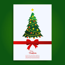 Merry Christmas Greeting Card Template WIth Tree