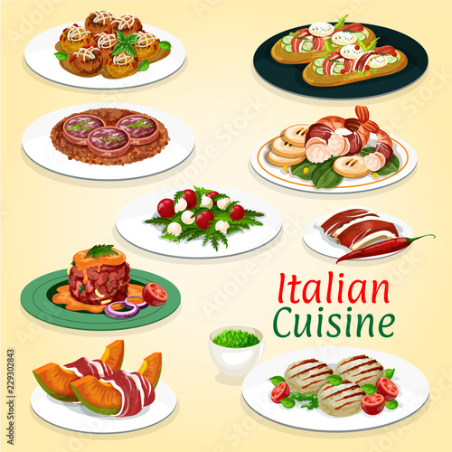 Vászonkép Italian cuisine meat and seafood dishes