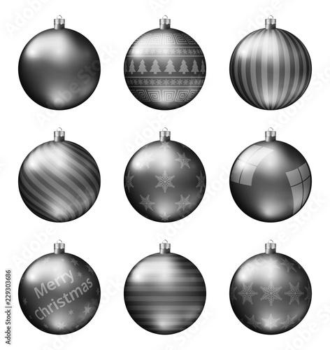 Black Christmas Balls.Black Christmas Balls Isolated On White Background Photorealistic