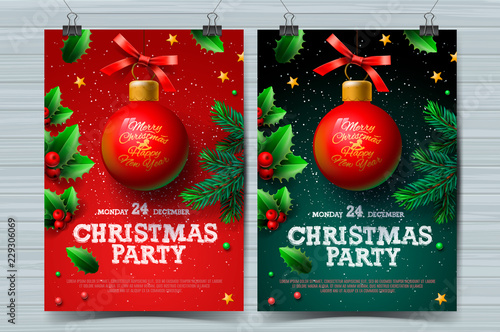 Obraz Christmas party design templates, posters with ball and Christmas decoration, vector illustration. - fototapety do salonu