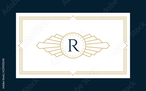 Art Deco Monogram Business & Invitation Card Template (Live Stroke Path)